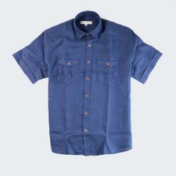 Out of Ireland Navy Linen Short Sleeve Shirt