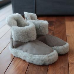 Alwero Light Gray Velvet Boot Slippers