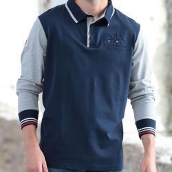 Black Wellis Long Sleeve Grey and Navy Polo Shirt