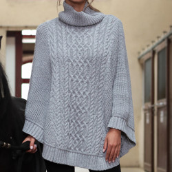 Poncho Col Montant Gris Inis Crafts