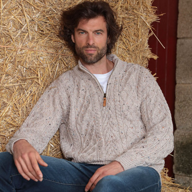 Pull laine Beige Chiné Inis Crafts