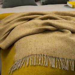 Avoca Yellow Herringbone Style Donegal Wool Throw 142 x 183 cm