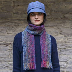 Mucros Weavers Merino and Cachemire Red and Purple Scarf