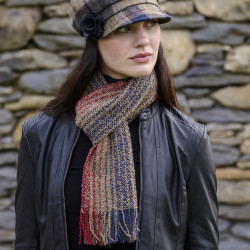 Mucros Weavers Merino and Cachemire Camel and Navy Scarf