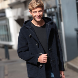 London Tradition Navy Houndstooth Duffle coat