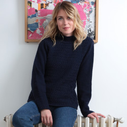 Out of Ireland Navy Mock Neck Sweater