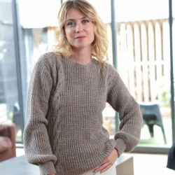 Out of Ireland Cable-knit Taupe Sweater