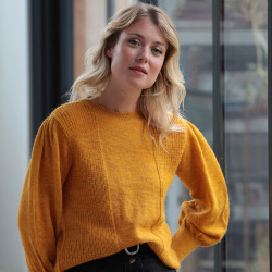 Out of Ireland Yellow Balloon Sleeves Sweater
