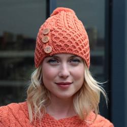 Aran Woollen Mills 3 buttons Orange Pompom Beanie