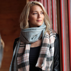 Out Of Ireland Light Pink Check Scarf