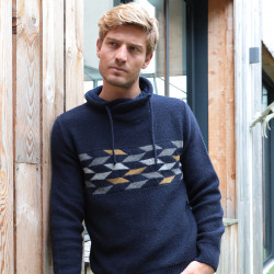 Out Of Ireland Checkered Navy Crossed Collar Sweater