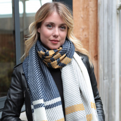 Out of Ireland Blue and Mustard Striped Scarf