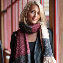 Out of Ireland Burgundy and Cream Scarf