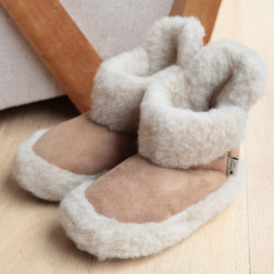 Chaussons Boots Velours Beige Alwero