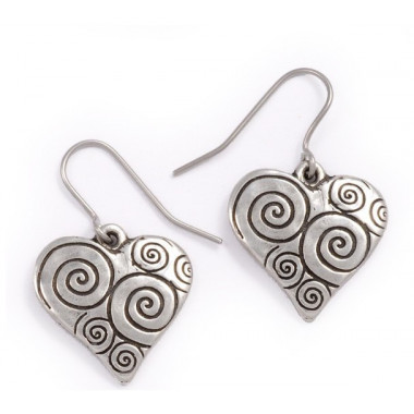 Spiral & Heart Tin Earrings