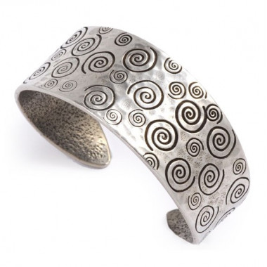 Spiral & Heart Cuff Pewter Bracelet