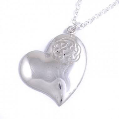 Lugh's Knot Heart Silver Pendant