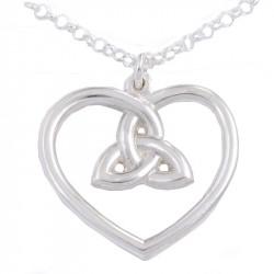 3-Loop Knot Heart Silver Pendant