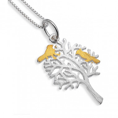 Tree of Life and Bird Silver Pendant