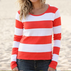 Out Of Ireland Orange-White Striped Sweater