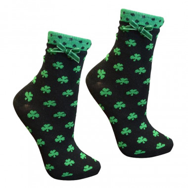 Green Shamrocks Black Socks