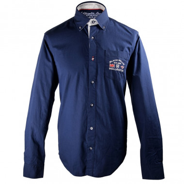 Black Wellis Button Collar Navy Shirt
