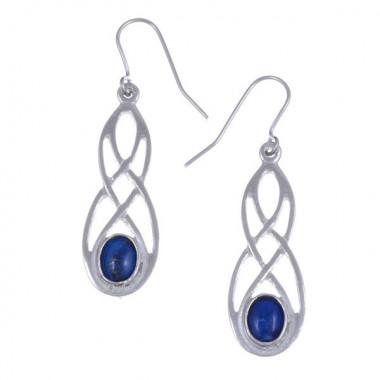 Celtic Lapis Blue Tin Earrings