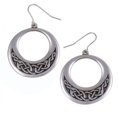 Celtic Knot Creole Tin Earrings