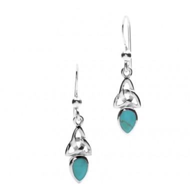 Boucles d'Oreilles Argent Celtique Turquoise