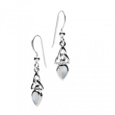 Pearl Grey Silver Celtic Earrings