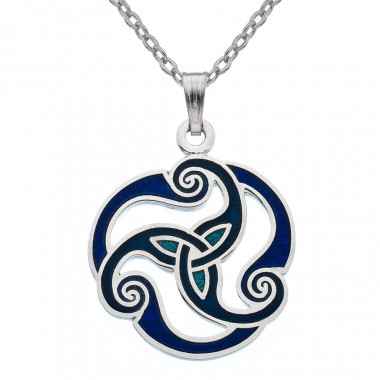 Triskele Blue Enamel Necklace