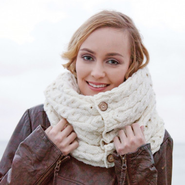 Aran Woollen Mills Ecru Button Snood