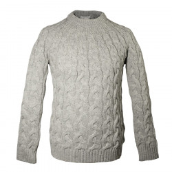 Pull Torsades Col Rond Gris Clair Peregrine