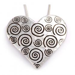 Pendentif Etain Coeur Spirales