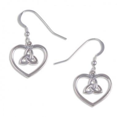 Silver Celtic Heart Earrings