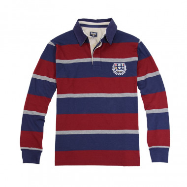Striped Blue and Burgundy Polo Shirt Rugby Nations
