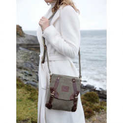 Aran Woollen Mills Green Tweed Bag and Leather