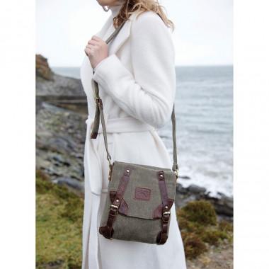 Aran Woollen Mills Green Tweed Bag and Leather