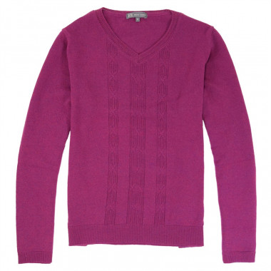 Best Yarn Fuchsia V Collar Sweater