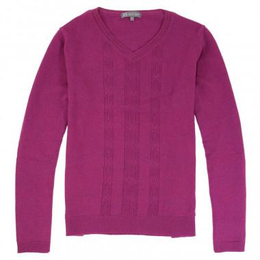 Pull Col V Maille Fine Fuchsia Best Yarn