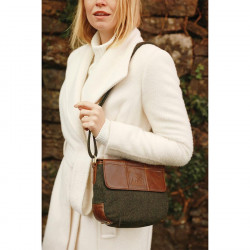 Aran Woollen Mills Shoulder Bag Green Leather and Tweed