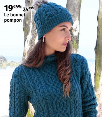 Bonnet pompon Aran Inis Crafts