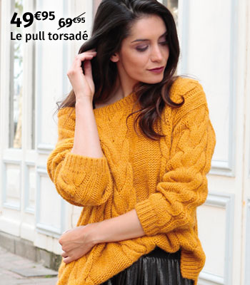 Pull torsadé jaune moutarde Out Of Ireland