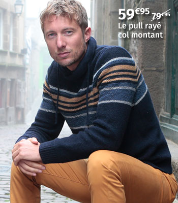 Pull rayé col montant Out Of Ireland