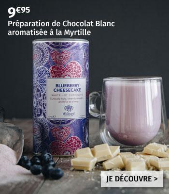 Préparation de Chocolat Chaud Blanc Whittard aromatisée Cheesecake Myrtille