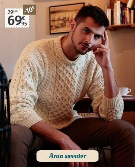 Aran Woollen Mills Ecru Aran Sweater