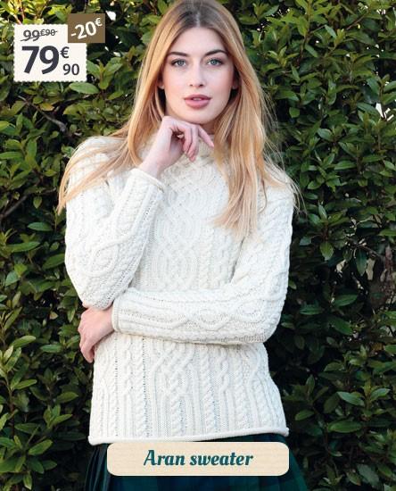 Inis Crafts Ecru Aran Sweater