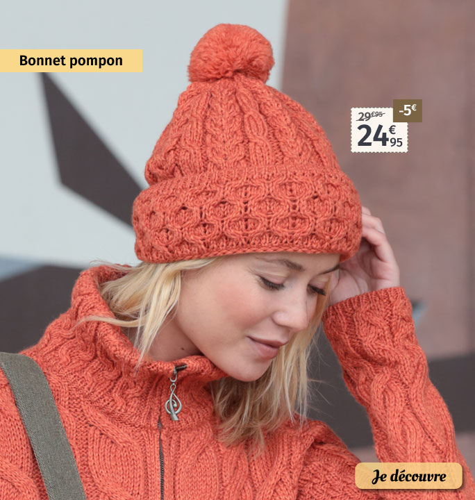 Bonnet pompon orange Aran Wollen Mills