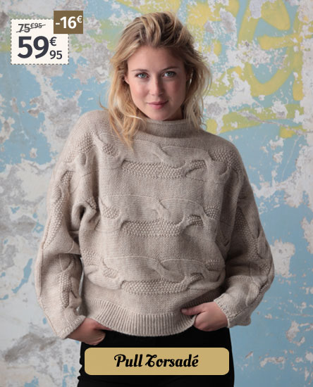 Pull torsadé beige Out Of Ireland
