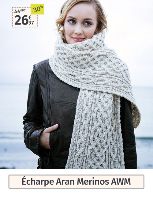 Echarpe laine écru et beige